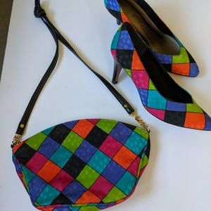 Multi colored heels & Matching shoulder bag sz 8